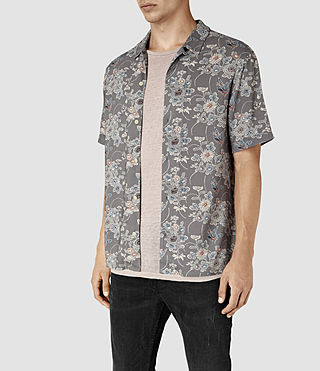Mens Hydrangea Short Sleeve Shirt (Grey) - product_image_alt_text_3