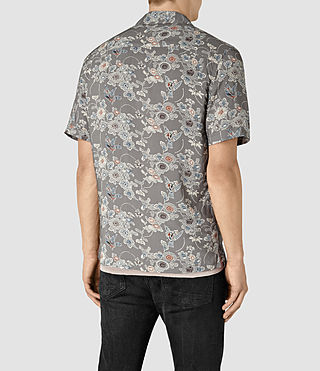 Men's Hydrangea Short Sleeve Shirt (Grey) - product_image_alt_text_4