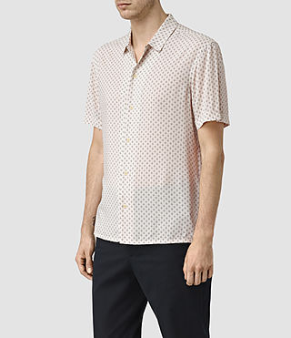 Herren Spadille Short Sleeve Shirt (ECRU WHITE) - product_image_alt_text_3