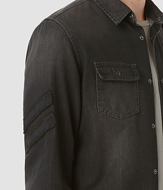 Men's Floyd Denim Shirt (Jet Black) - product_image_alt_text_2