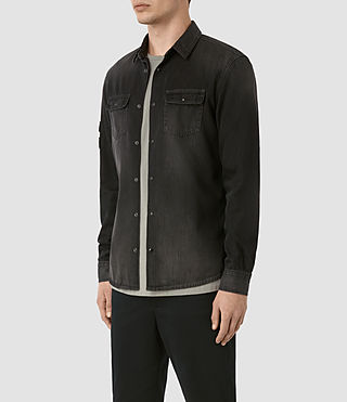Hombres Floyd Denim Shirt (Jet Black) - product_image_alt_text_3