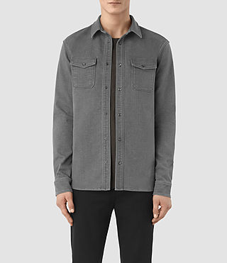 Hommes Reverse Ls Shirt (Dark Grey)