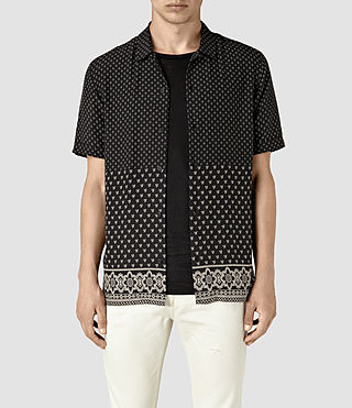 Hombres Bordure Short Sleeve Shirt (Black)