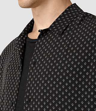 Hommes Bordure Short Sleeve Shirt (Black) - product_image_alt_text_2