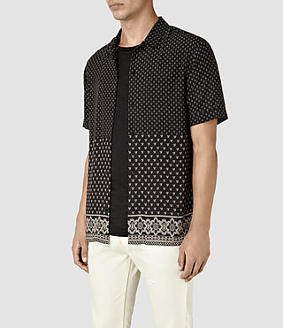 Hombre Bordure Short Sleeve Shirt (Black) - product_image_alt_text_3