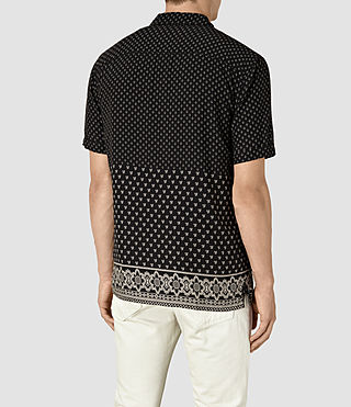 Hommes Bordure Short Sleeve Shirt (Black) - product_image_alt_text_4