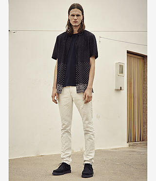 Hombre Bordure Short Sleeve Shirt (Black) - product_image_alt_text_5