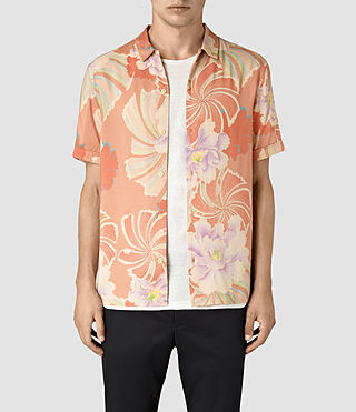 Hommes Helix Short Sleeve Shirt (SUNSET RED)