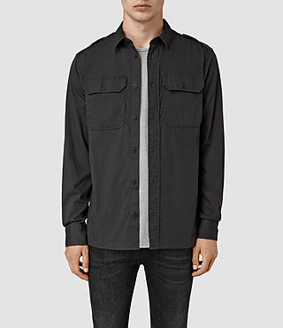 Uomo Picket Ls Shirt (Washed Black)
