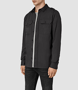 Uomo Picket Ls Shirt (Washed Black) - product_image_alt_text_2