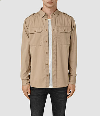 Hommes Picket Ls Shirt (Sand Khaki) -