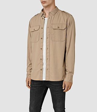 Hommes Picket Ls Shirt (Sand Khaki) - product_image_alt_text_2