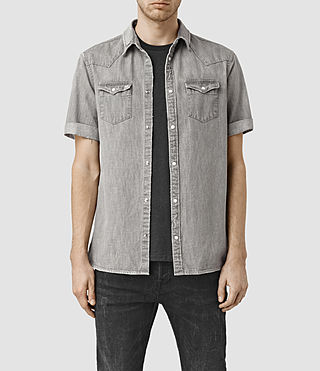Hombres Groley Short Sleeve Denim Shirt (Grey) -
