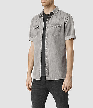 Hombres Groley Short Sleeve Denim Shirt (Grey) - product_image_alt_text_2