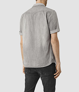 Hombres Groley Short Sleeve Denim Shirt (Grey) - product_image_alt_text_3