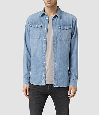 Hombre Larcaf Denim Shirt (LIGHT INDIGO BLUE) - product_image_alt_text_1