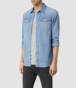 Hombre Larcaf Denim Shirt (LIGHT INDIGO BLUE) - product_image_alt_text_2