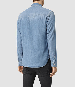 Hombre Larcaf Denim Shirt (LIGHT INDIGO BLUE) - product_image_alt_text_3