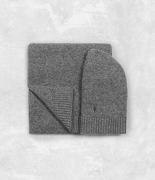 Hombres Klymore Scarf and Hat Gift Set (Grey Marl)