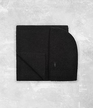Hombres Klymore Scarf and Hat Gift Set (Cinder Black Marl)