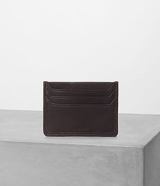Herren Shard Leather Cardholder (Bitter Choc)