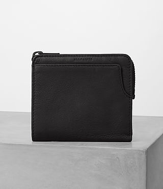 Mens Cleat Leather Wallet (Washed Black)