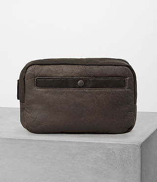 Hommes Shoto Leather Washbag (WASHED TAUPE/KHAKI) -