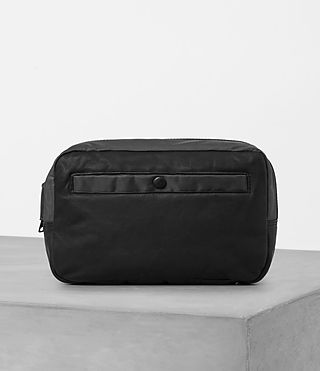 Herren Shoto Leather Washbag (Washed Black/Grey)