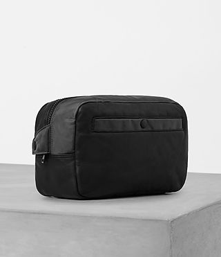 Mens Shoto Leather Washbag (Washed Black/Grey) - Image 3