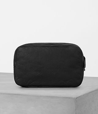 Mens Shoto Leather Washbag (Washed Black/Grey) - Image 4
