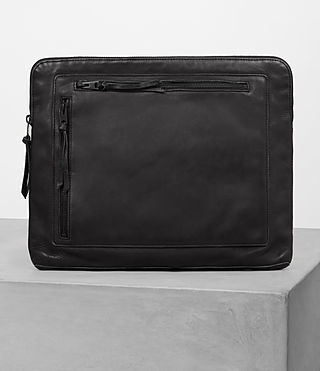 Hombre Meguro Leather Document Case (Washed Black)