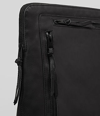 Mens Meguro Leather Document Case (Washed Black) - product_image_alt_text_2