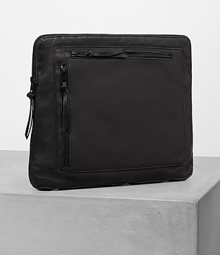 Mens Meguro Leather Document Case (Washed Black) - product_image_alt_text_3