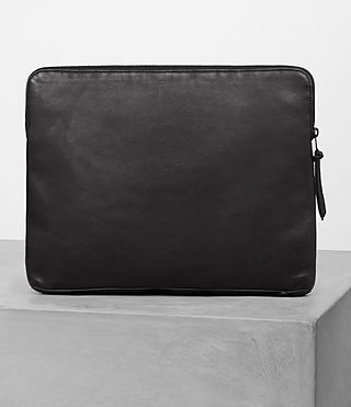 Mens Meguro Leather Document Case (Washed Black) - product_image_alt_text_5