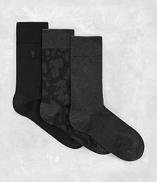 Hommes Montauld Sock 3 Pack (Black/Cinder)