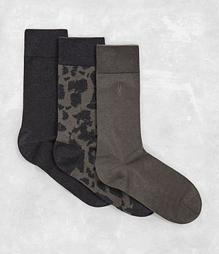 Mens Montauld Sock 3 Pack (KHAKI/CINDER) - product_image_alt_text_1