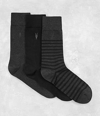 Herren Breton Sock Pack (Black/Charcoal) -
