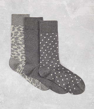 Men's Polka Leopard Sock 3 Pack (Grey Marl) -