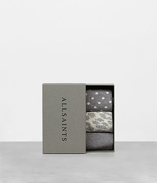 Men's Polka Leopard Sock 3 Pack (Grey Marl) - product_image_alt_text_3