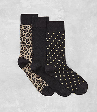 Men's Polka Leopard Sock 3 Pack (Cinder) -