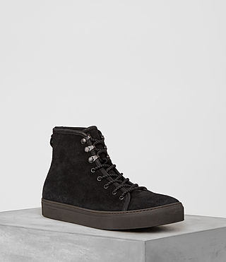 Hommes Point Hi-top Sneaker (Black Suede)