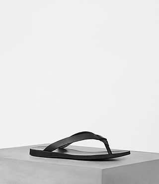 Hombres Reef Leather Sandal (Black)