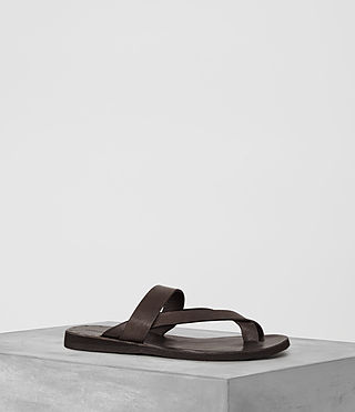 Hombre Flax Leather Sandal (Bitter Brown)