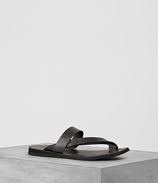Hombre Flax Leather Sandal (Charcoal)