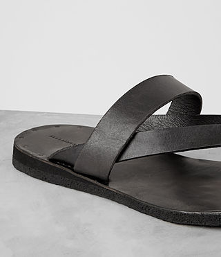 Mens Flax Leather Sandal (Charcoal) - product_image_alt_text_2