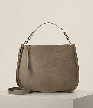 Womens Kanda Suede Hobo Bag (MINK GREY)
