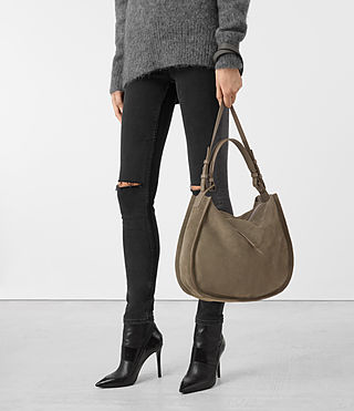 Womens Kanda Suede Hobo Bag (MINK GREY) - product_image_alt_text_2