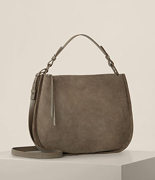 Womens Kanda Suede Hobo Bag (MINK GREY) - product_image_alt_text_4