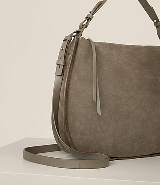 Womens Kanda Suede Hobo Bag (MINK GREY) - product_image_alt_text_5