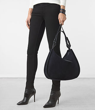 ALLSAINTS US: Womens Kanda Suede Hobo Bag (Dark Blue)